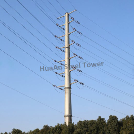 Electrical Power Transmission Hot Dipped Galvanized Tapered Circular Metal Telescopic Mono Pole