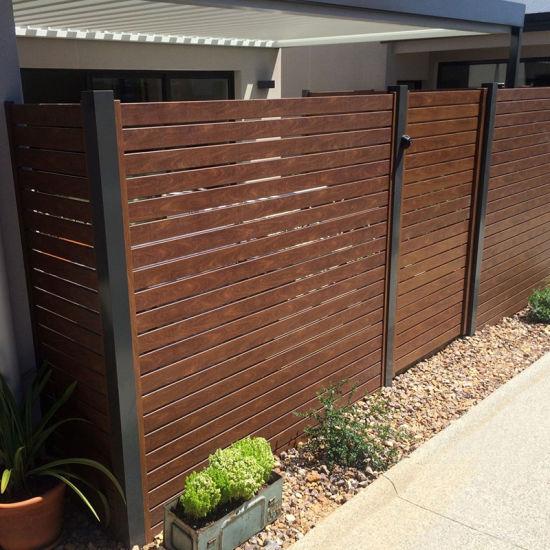China Colour Powder Coated Aluminum Louver Slat Privacy Fence China Aluminum Slat Fence Slat Fence