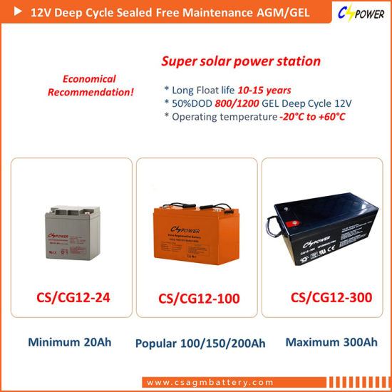 Cspower 12V200ah Deep Cycle Gel Battery for Street Light, China Manufacturer pictures & photos
