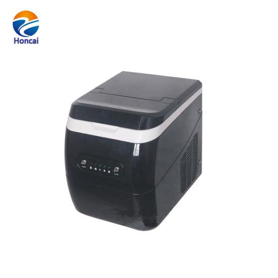 12kg Popular Brown Ss Cabinet Black Plastic Top Counter Top Ice Maker