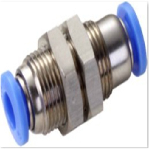 Low Price Pm Bulkhead Pneumatic Plated Brass Push in Fittings