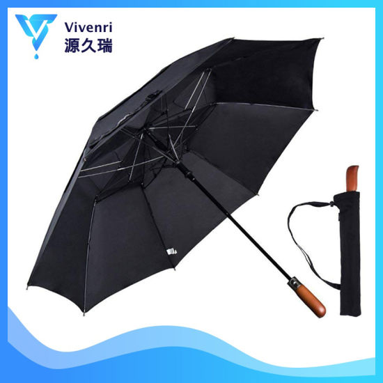 51 Inch Folding Golf Umbrella, Windproof Auto Open and Real Wood Handle