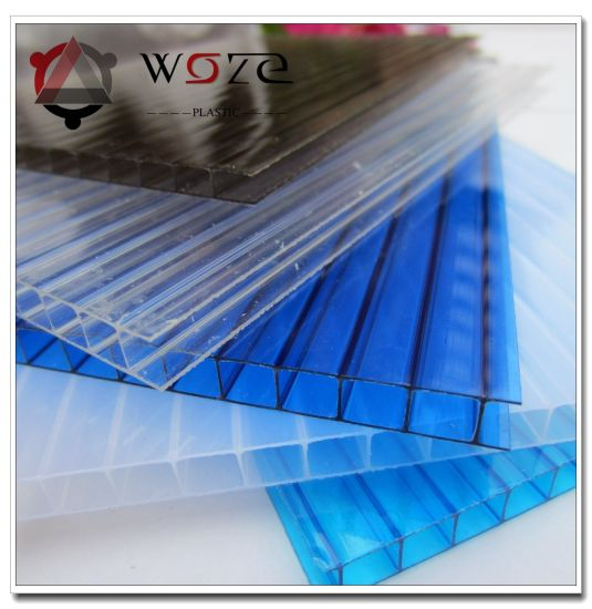 China 6mm White Twinwall Polycarbonate PC Plastic Hollow Roof Panel