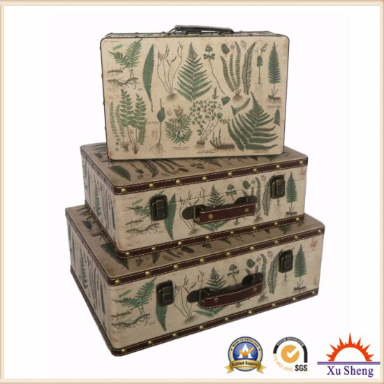 PU Print Colorful Suitcase Storage Box Wooden Gift Box Antique Furniture pictures & photos