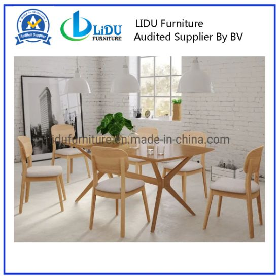 China Hot Sale High Quality Hot Sale Promotion Wooden Dining Table Designs Large Rectangular Wooden Table Glass Top With Wooden Legs China Dining Table Dining Room Set