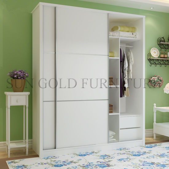 Modern Bedroom Closet 2 Door Wooden Wardrobe Cabinet Design SZ WDT004
