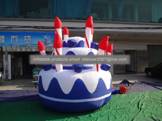 2019 Most Popular Outdoor Big Inflatable Birthday Cake Model for Sale