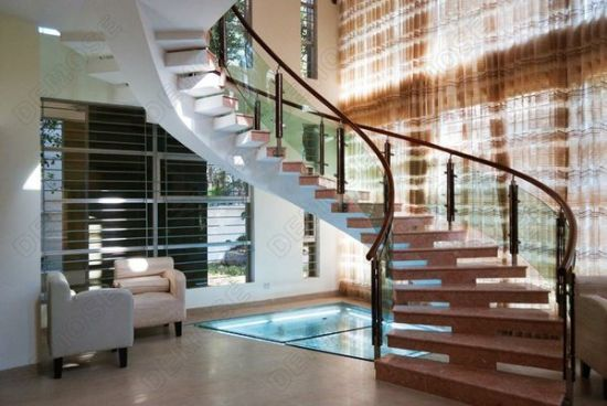 Wood And Iron Stairs Railing/Round Wood Stair Railings/Stair Stainless  Steel Balusters