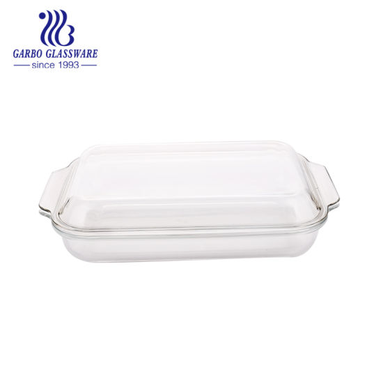 2.7L Food Safe Quality Rectangle Microwave Oven Glass Dish (GB13G58385)