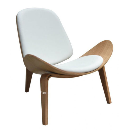 Leisure Plywood Leather Chaise Lounge Hans Wegner Shell Chair