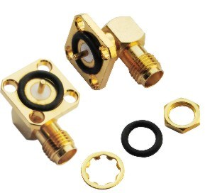 Right Angle Flange Female Coaxial Cable SMA Connectors