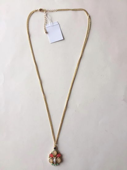 Fashion Necklace Chain Gold with Crystals and Rhinestone Pendant 34~36+4cm