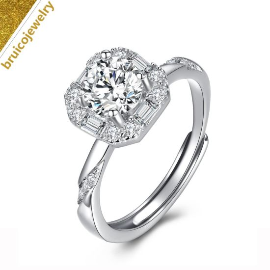 Custom Fashion Jewellery Deluxe 18K 14K 9K Gold Diamond Wedding Jewelry 925 Silver Ring