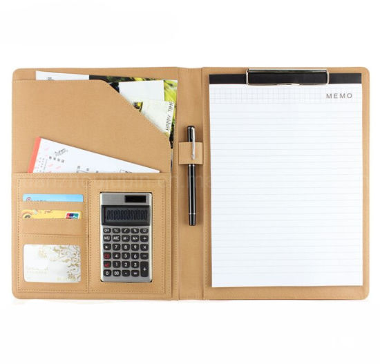 OEM Business Office Multifunction Calculator Leather A4 File Folder pictures & photos