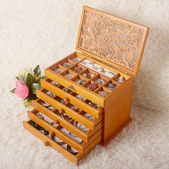 Hot Fashion Solid Wooden Jewelry Box for Storing Jewelry / Ring / Bracelet / Earrings