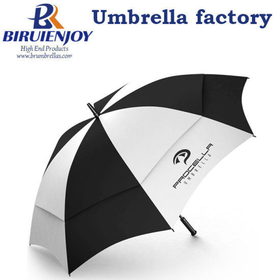 Double Canopy Sun Straight Vented Golf Umbrella with Customized Logo Print for Promotion