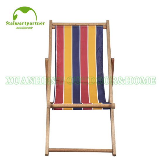 Wooden Outdoor Folding Beach Chair with Ployster Fabric