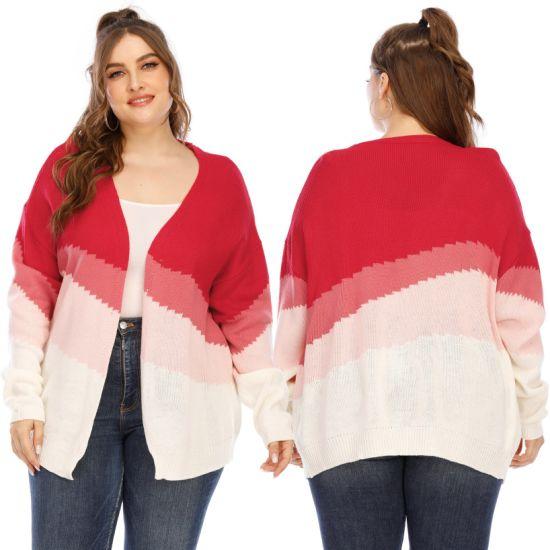 Gradient Color Winter Jacket Plus Size Women's Knit Cardigan Sweaters