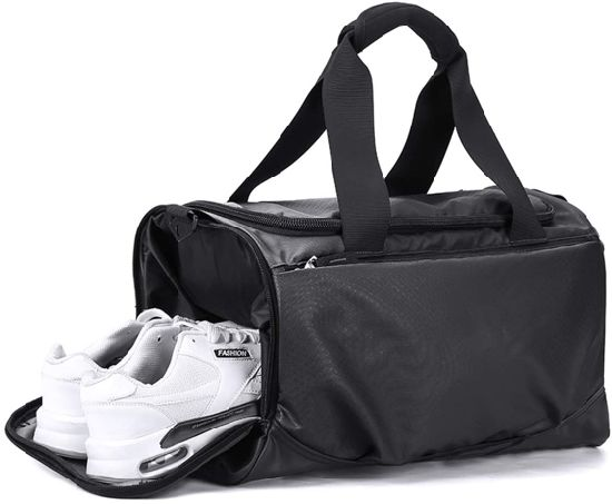 Black Waterproof Sports Tote Gym Bag with Shoes Compartment and Adjustbale Strap Fitness Bag