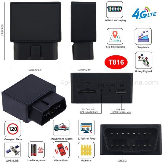 4G LTE Real Time Tracking OBD safety Vehicle GPS Tracker for Car with Vibration Mode Overspeed Alert T816