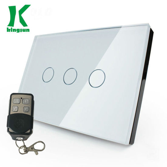 Us Standard Remote Touch Switch 3gang1way White Glass Panel