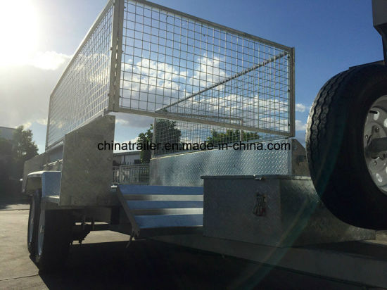 12X5FT Hot Dipped Galvanized Heavy Duty Hydraulic Tandem Trailer with Cage pictures & photos