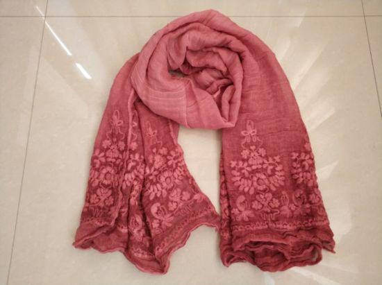 Spring/Autumn/Winter Cotton Viscose Long Embroidery Woven Scarf