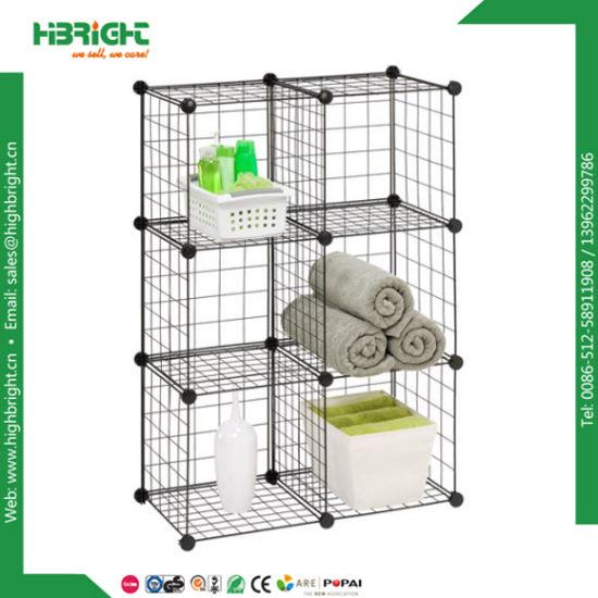Interlocked Modular Grid Wire Mesh Storage Cubes