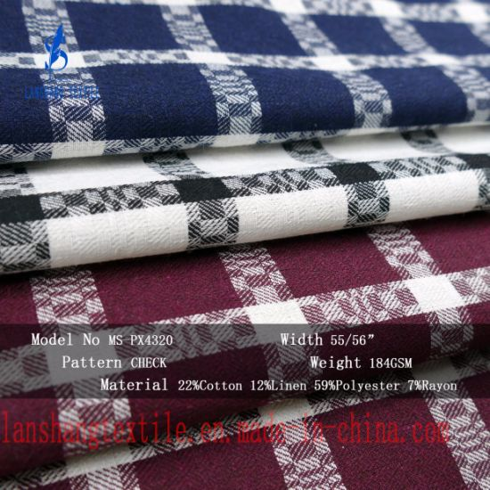 7%Rayon 12%Linen 22%Cotton 59%Polyester for Coat Jacket Suit pictures & photos