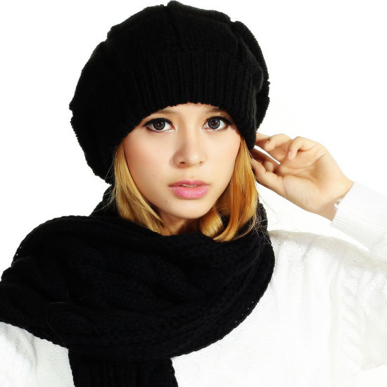 (LKN15029) Promotional Winter Knitted Beanie Hats with Scarf
