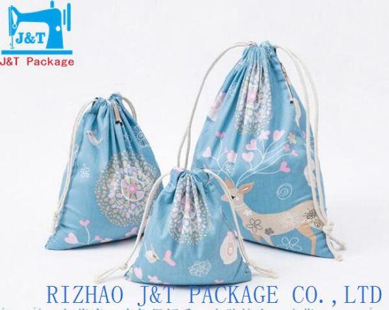 China Custom Drawstring Book Bag Organic Cotton