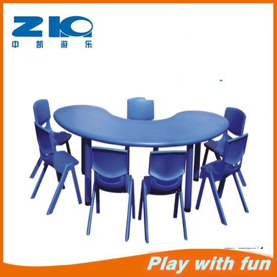 Kindergarten Furniture Half Moon Shape Plastic Table