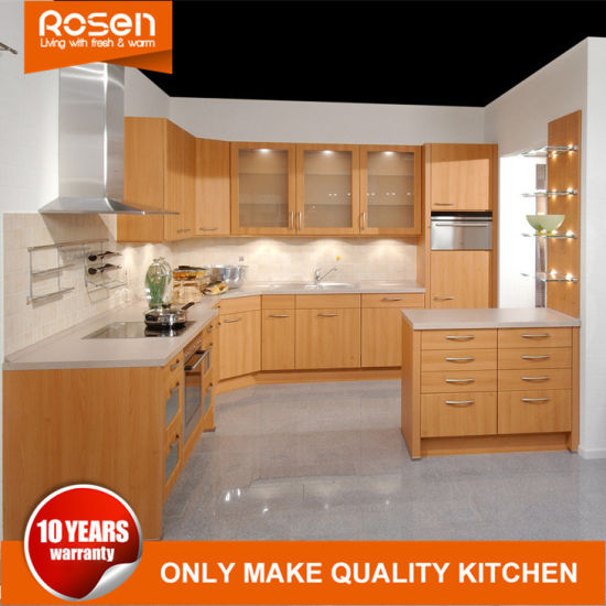 Kitchen Cabinets Furniture With Yellow Melamine Glass Design From