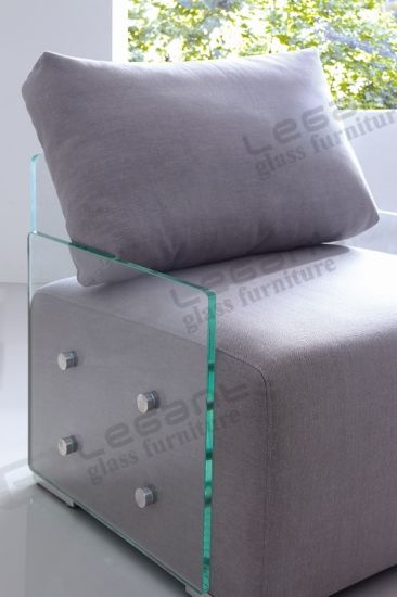 15mm Thickness Tempered Glass Sofa with Soft Fabric Seat pictures & photos