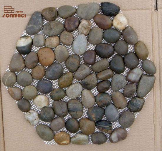Natural River Pebbles Stone on Mesh Pattern