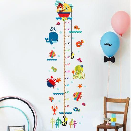 Custom Cartoon Grow Chart Kids Height Measurement Wall Sticker