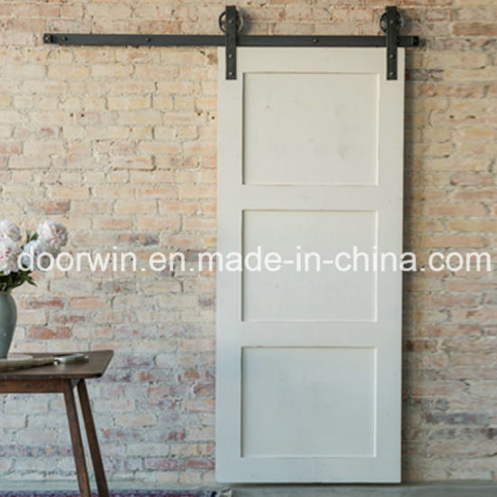 White Color American Barn Door Pine Wooden Retractable Interior Doors With  Hradware