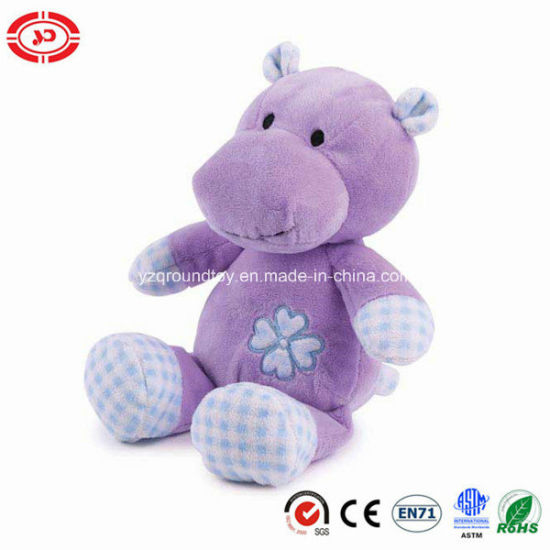 China Plush Soft Hippo Purple Sitting Animal With Embroidery Fancy