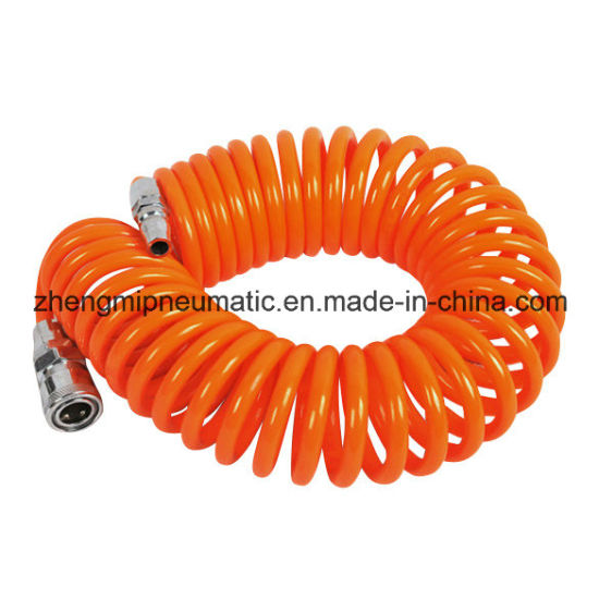 1/2′′ PU Coiled Hose; Water Tube for Water (black coil hose with male and female fittings) pictures & photos