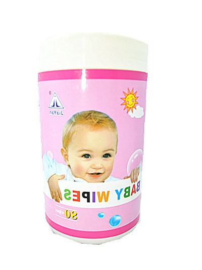 Baby Removable Wet Tissue with Barrel Plastic Box Packing Tissue