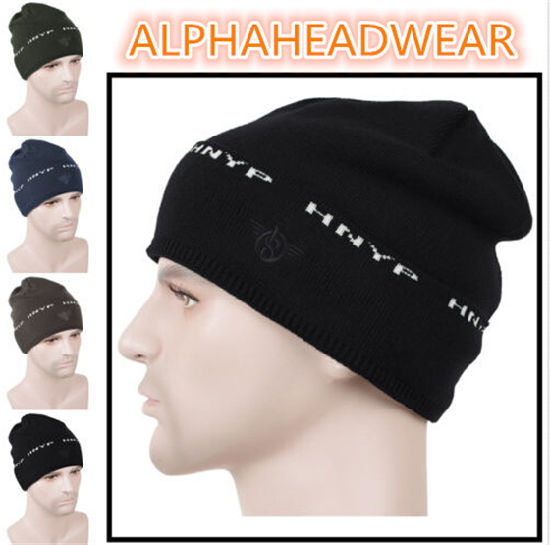 48175400298cb Men′s Slouchy Baggy Winter Wool Beanie Black Skull Ski Cap pictures   photos