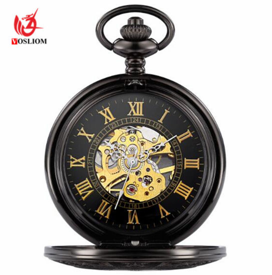 Retro Vintage Smooth Black Automatic Pocket Watch with Chain Bracelet #V973