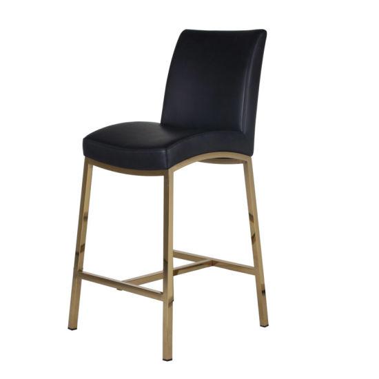 Leisure Bar Furniture Titanium Gold Polish Stainless Steel PU Seat Known Down Bar Stool