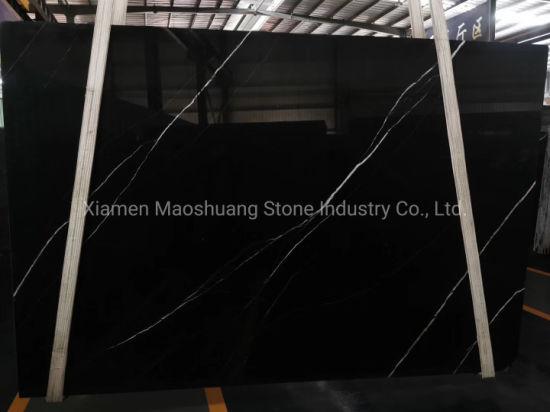 Super Black Marquina Marble Slab
