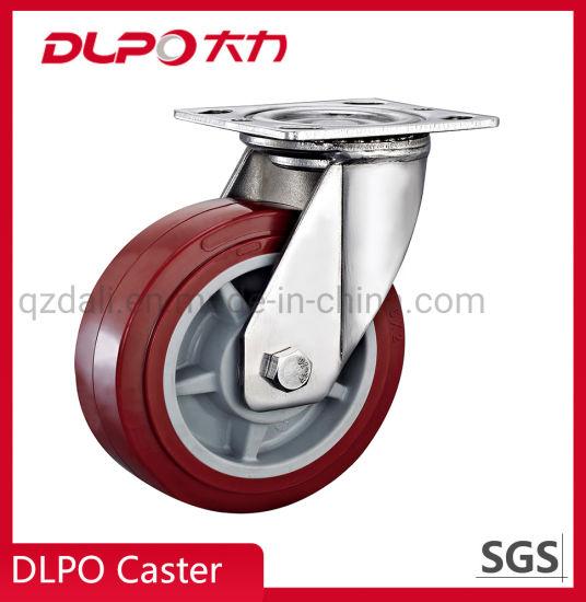 4-8inch Iron Core PU Single Springs Swivel Shockproof Caster Wheel