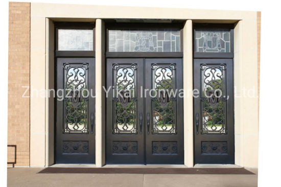 Luxury Style Commercial Entry Door Wrought Iron Grill Design