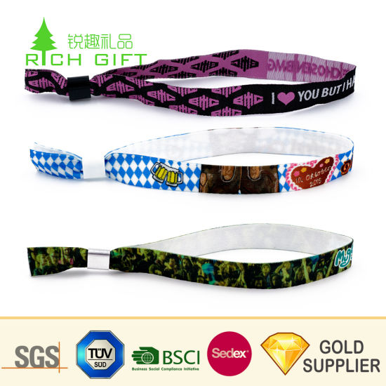 Promotion Custom Fashion Festival Event Printed Rainbow Elastic RFID Textile Polyester Fabric Wristband Coachella Friendship Satin Ribbon Nylon Woven Bracelet pictures & photos