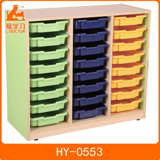 24 Color Plastic Drawers Wooden Office Storage Cabinets