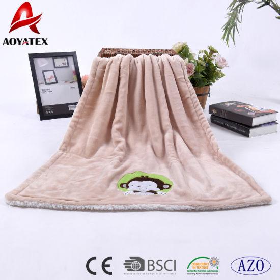 02af949c9ba7 Polyester Blanket Factory China Coral Fleece Baby Blanket with Applique