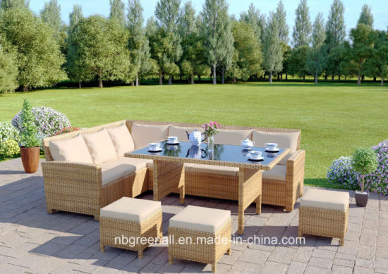 China 9 Seater Corner Sofa Dining Set Garden Rattan Outdoor ...
